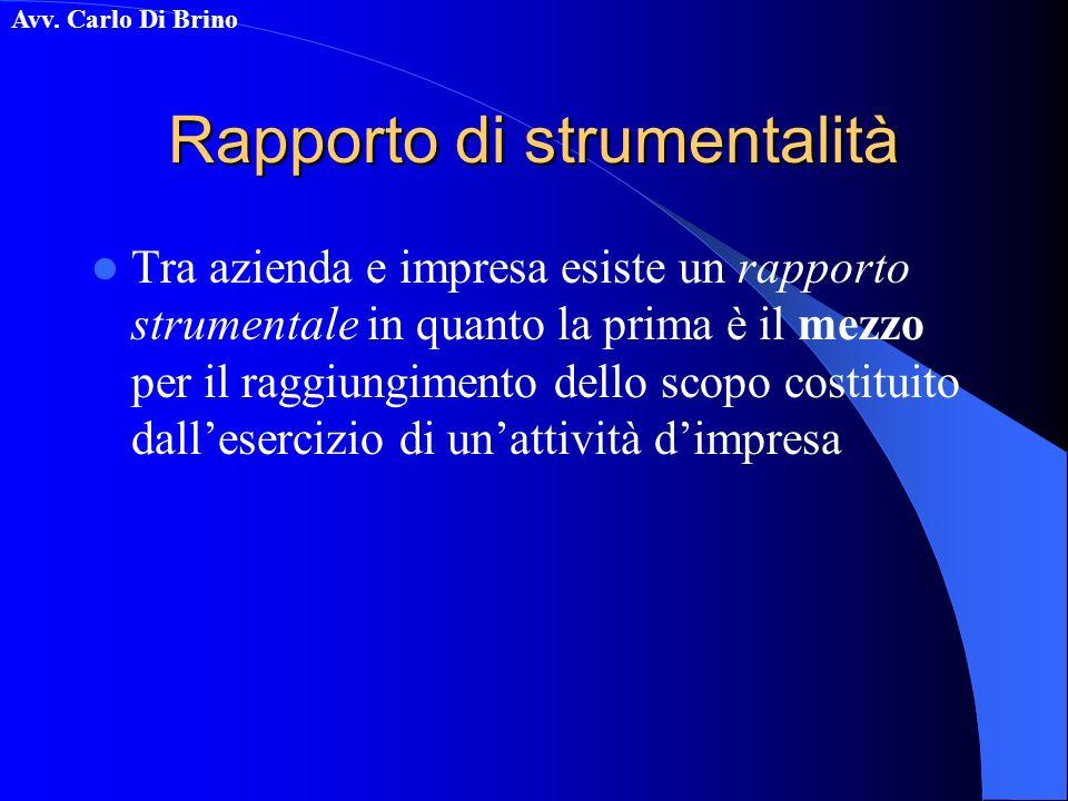Avv. Carlo Di Brino Rapporto di strumentalità Tra azienda e impresa esiste un rapporto strumentale in quanto la prima è il mezzo per il raggiungimento