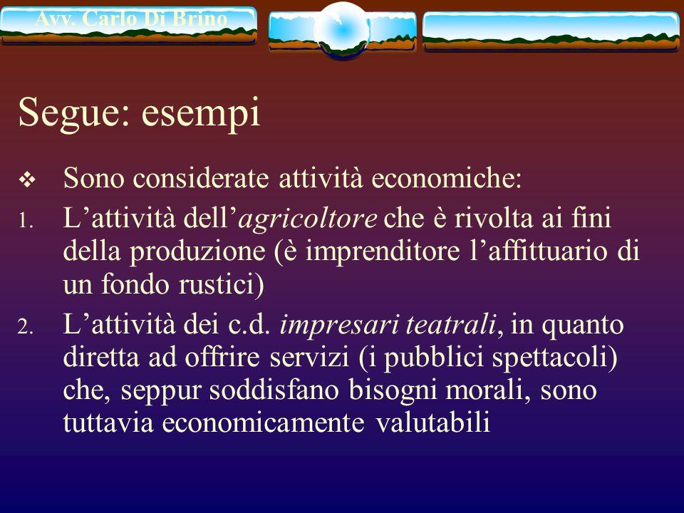 Avv. Carlo Di Brino Segue: esempi Sono considerate attività economiche: 1. Lattività dellagricoltore che è rivolta ai fini della produzione (è imprend