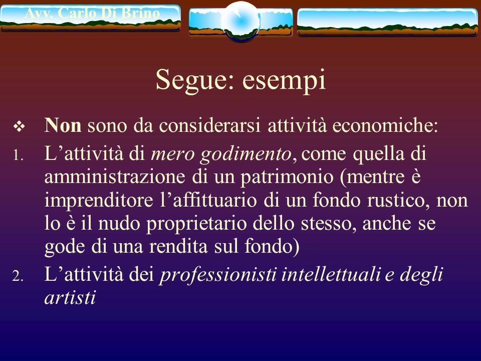 Avv. Carlo Di Brino Segue: esempi Non sono da considerarsi attività economiche: 1. Lattività di mero godimento, come quella di amministrazione di un p