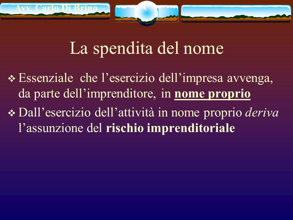 Avv. Carlo Di Brino La spendita del nome Essenziale che lesercizio dellimpresa avvenga, da parte dellimprenditore, in nome proprio Dallesercizio della