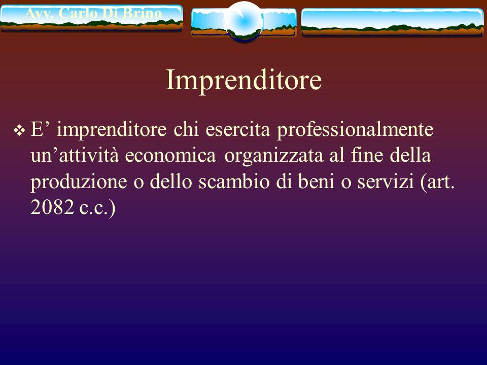 Avv. Carlo Di Brino Imprenditore E imprenditore chi esercita professionalmente unattività economica organizzata al fine della produzione o dello scamb