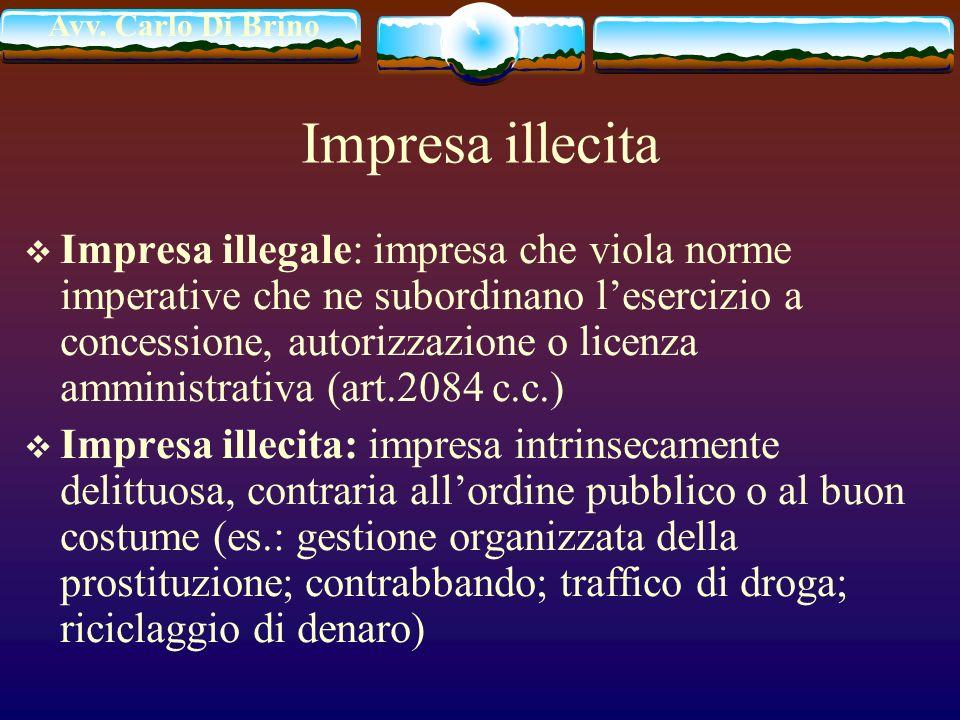 Avv. Carlo Di Brino Impresa illecita Impresa illegale: impresa che viola norme imperative che ne subordinano lesercizio a concessione, autorizzazione