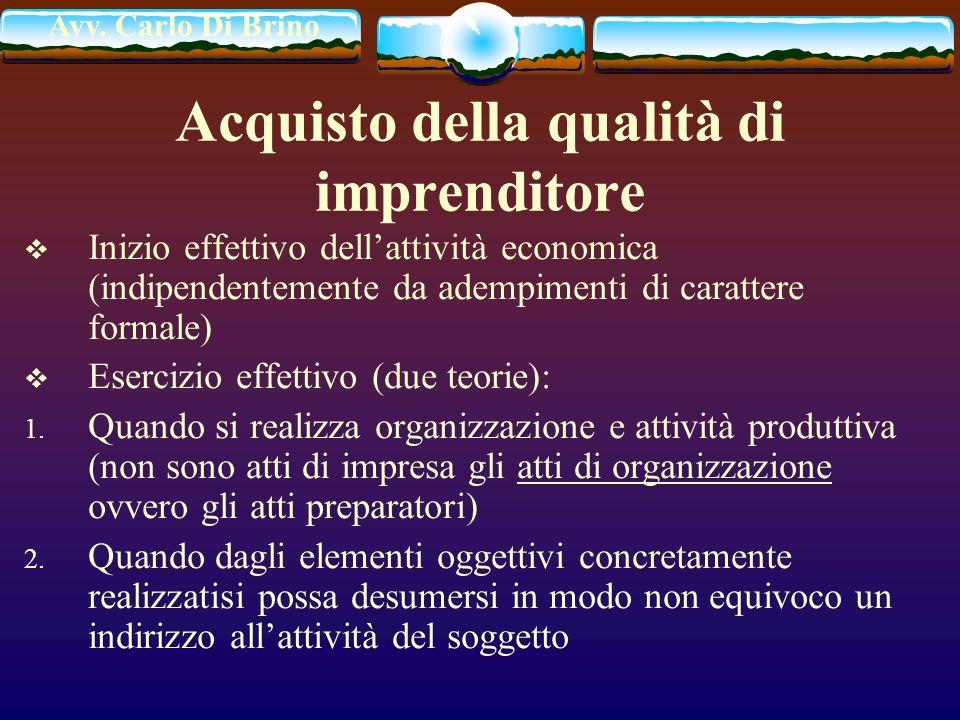 Avv. Carlo Di Brino Acquisto della qualità di imprenditore Inizio effettivo dellattività economica (indipendentemente da adempimenti di carattere form