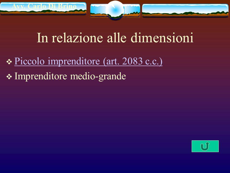 Avv. Carlo Di Brino In relazione alle dimensioni Piccolo imprenditore (art. 2083 c.c.) Imprenditore medio-grande