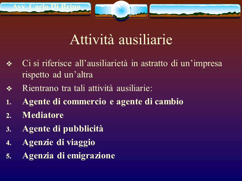 Avv. Carlo Di Brino Attività ausiliarie Ci si riferisce allausiliarietà in astratto di unimpresa rispetto ad unaltra Rientrano tra tali attività ausil