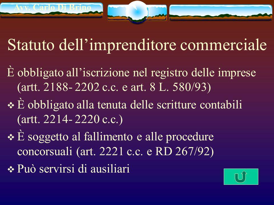 Avv. Carlo Di Brino Statuto dellimprenditore commerciale È obbligato alliscrizione nel registro delle imprese (artt. 2188- 2202 c.c. e art. 8 L. 580/9