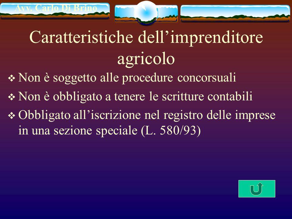 Avv. Carlo Di Brino Caratteristiche dellimprenditore agricolo Non è soggetto alle procedure concorsuali Non è obbligato a tenere le scritture contabil