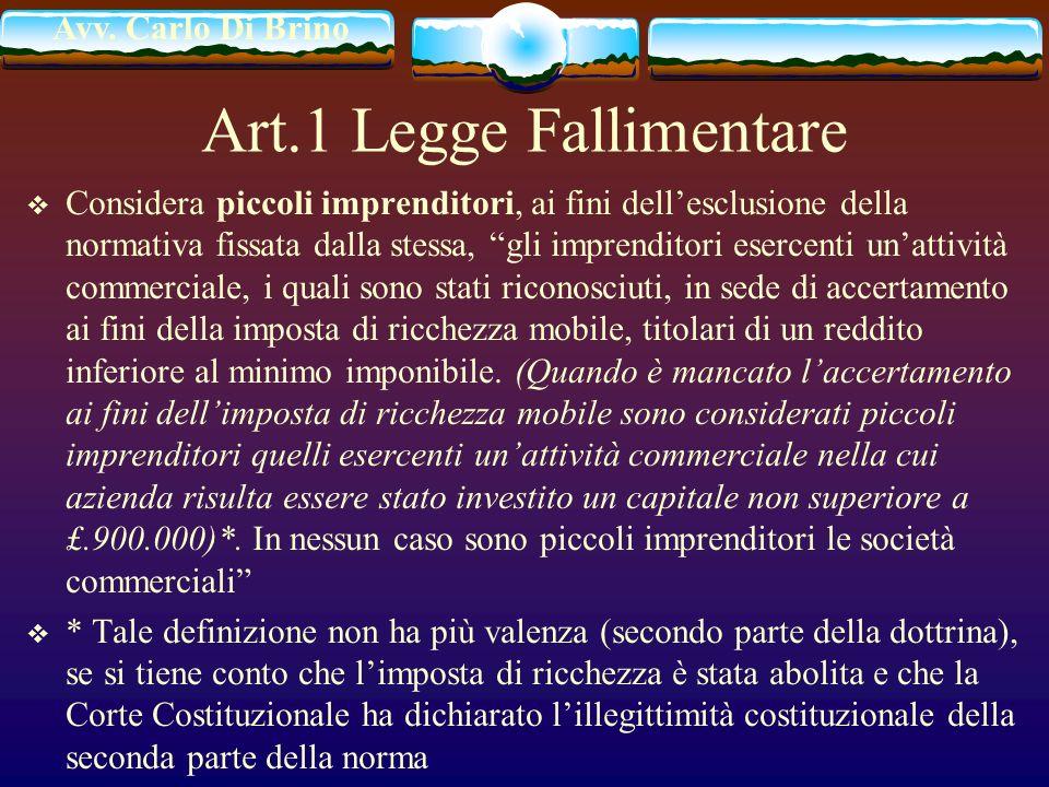 Avv. Carlo Di Brino Art.1 Legge Fallimentare Considera piccoli imprenditori, ai fini dellesclusione della normativa fissata dalla stessa, gli imprendi