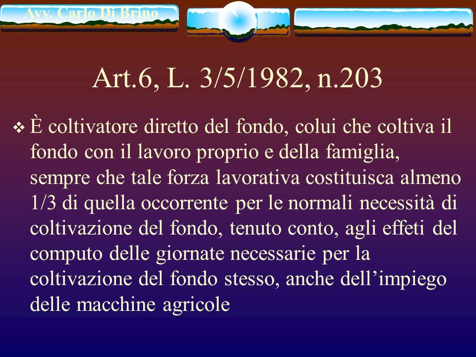 Avv. Carlo Di Brino Art.6, L. 3/5/1982, n.203 È coltivatore diretto del fondo, colui che coltiva il fondo con il lavoro proprio e della famiglia, semp