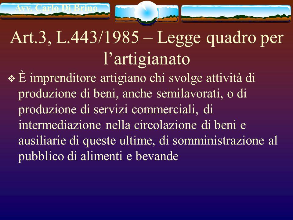 Avv. Carlo Di Brino Art.3, L.443/1985 – Legge quadro per lartigianato È imprenditore artigiano chi svolge attività di produzione di beni, anche semila