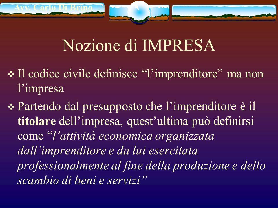 Avv. Carlo Di Brino Nozione di IMPRESA Il codice civile definisce limprenditore ma non limpresa Partendo dal presupposto che limprenditore è il titola