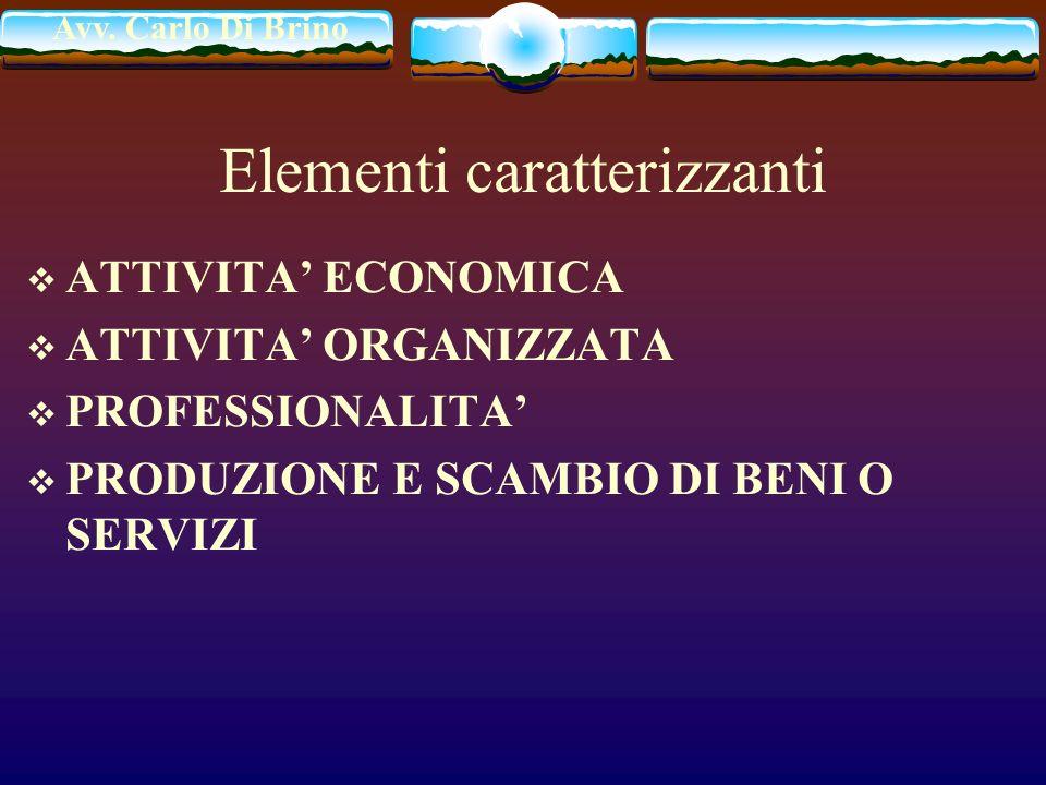 Avv. Carlo Di Brino Elementi caratterizzanti ATTIVITA ECONOMICA ATTIVITA ORGANIZZATA PROFESSIONALITA PRODUZIONE E SCAMBIO DI BENI O SERVIZI