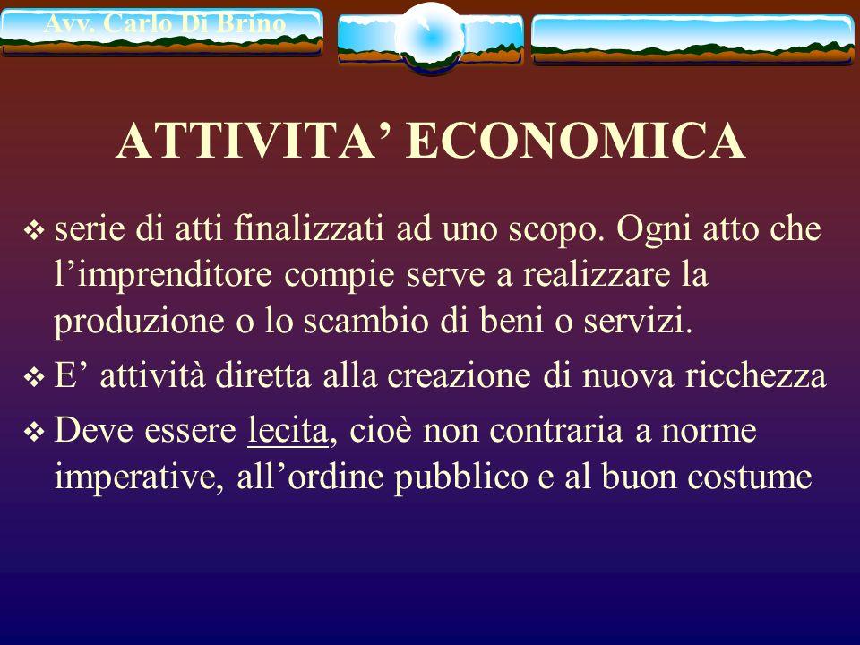 Avv. Carlo Di Brino ATTIVITA ECONOMICA serie di atti finalizzati ad uno scopo. Ogni atto che limprenditore compie serve a realizzare la produzione o l