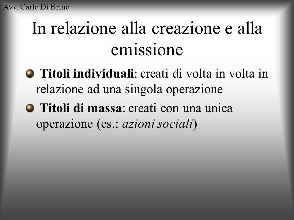 Avv. Carlo Di Brino In relazione alla creazione e alla emissione Titoli individuali: creati di volta in volta in relazione ad una singola operazione T