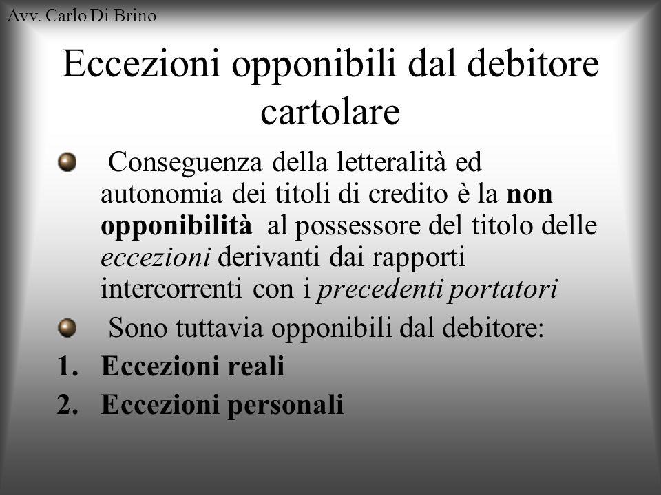 Avv. Carlo Di Brino Eccezioni opponibili dal debitore cartolare Conseguenza della letteralità ed autonomia dei titoli di credito è la non opponibilità
