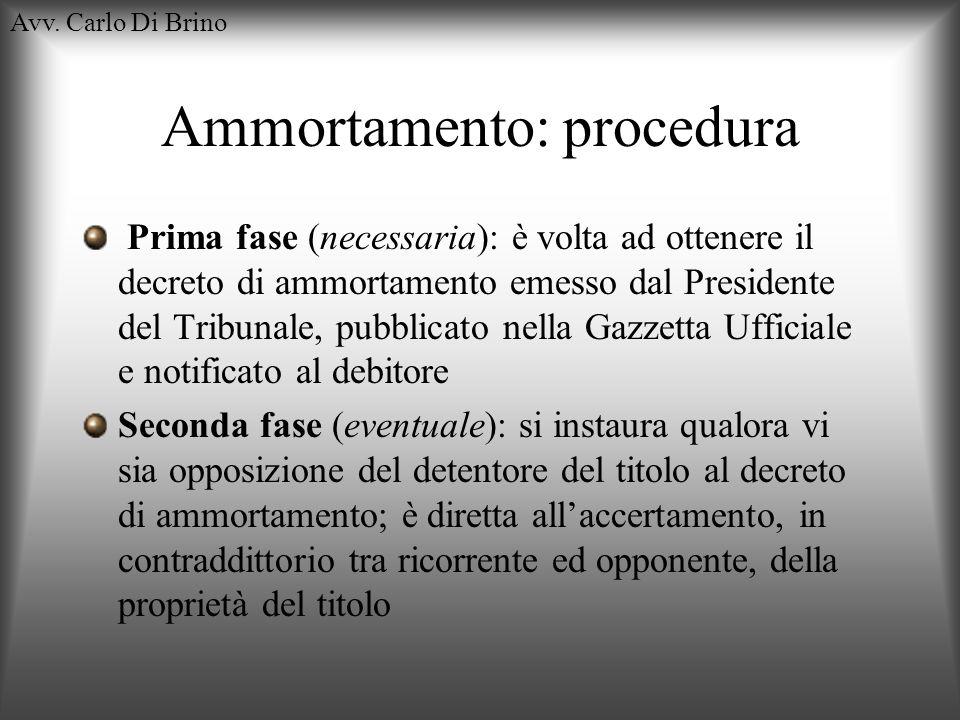 Avv. Carlo Di Brino Ammortamento: procedura Prima fase (necessaria): è volta ad ottenere il decreto di ammortamento emesso dal Presidente del Tribunal