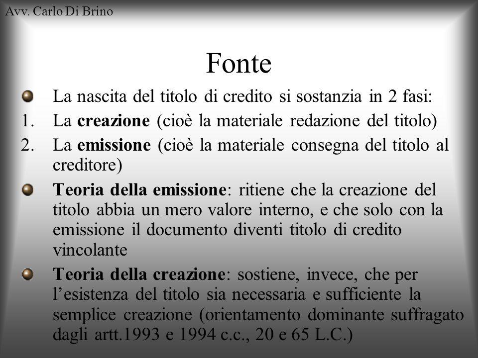 Avv. Carlo Di Brino Fonte La nascita del titolo di credito si sostanzia in 2 fasi: 1.La creazione (cioè la materiale redazione del titolo) 2.La emissi