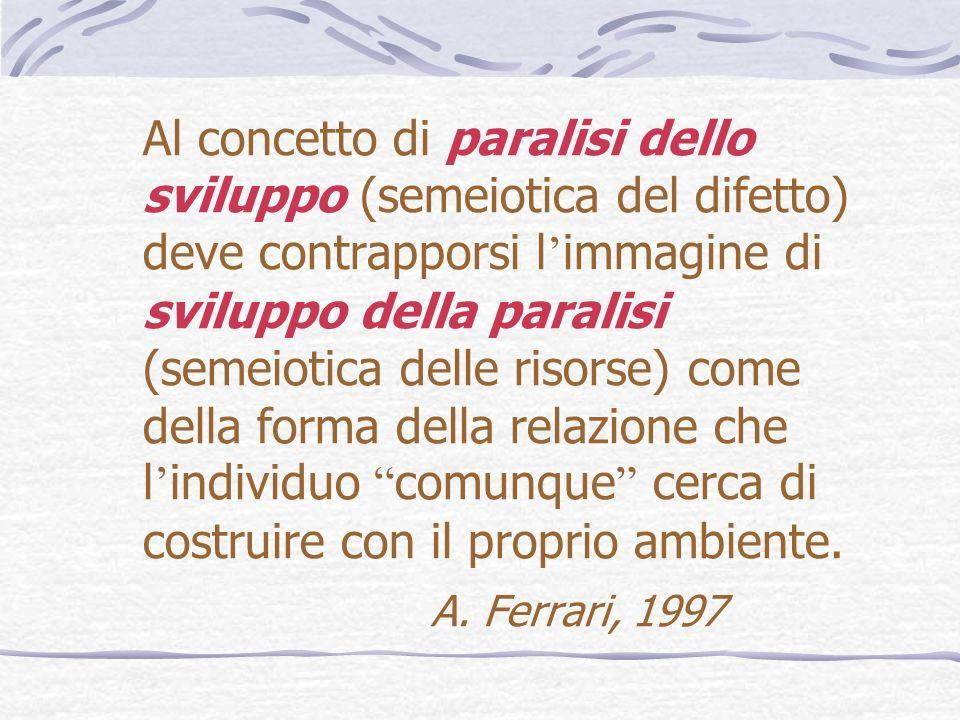 Al concetto di paralisi dello sviluppo (semeiotica del difetto) deve contrapporsi l immagine di sviluppo della paralisi (semeiotica delle risorse) com