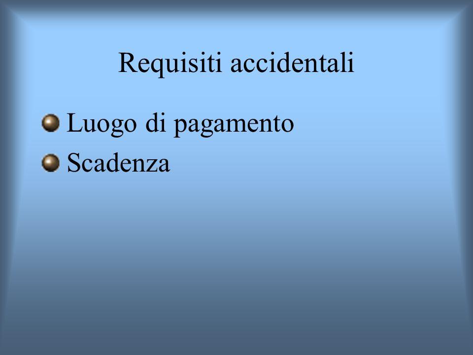 Requisiti accidentali Luogo di pagamento Scadenza