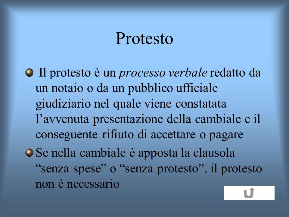 Protesto Il protesto è un processo verbale redatto da un notaio o da un pubblico ufficiale giudiziario nel quale viene constatata lavvenuta presentazi