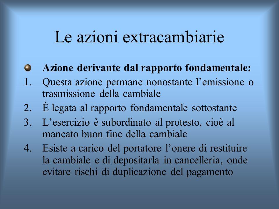 Le azioni extracambiarie Azione derivante dal rapporto fondamentale: 1.Questa azione permane nonostante lemissione o trasmissione della cambiale 2.È l