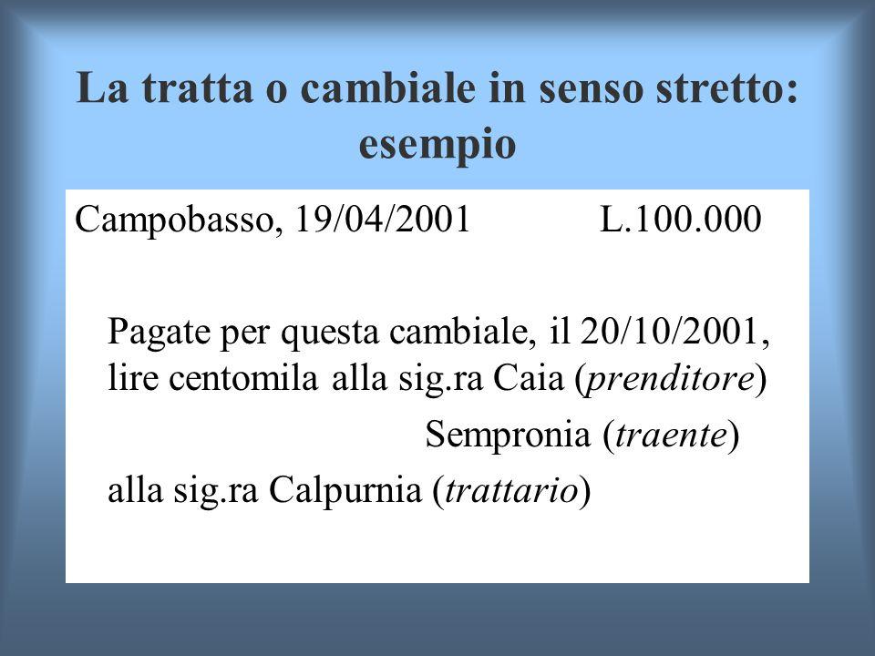 La tratta o cambiale in senso stretto: esempio Campobasso, 19/04/2001 L.100.000 Pagate per questa cambiale, il 20/10/2001, lire centomila alla sig.ra