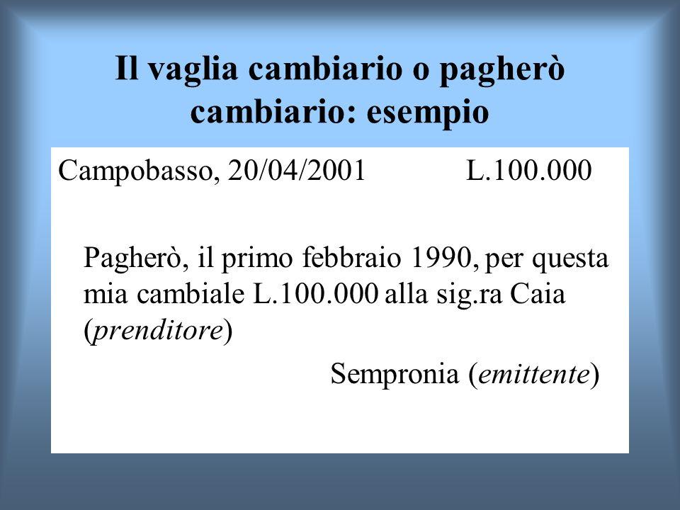 Il vaglia cambiario o pagherò cambiario: esempio Campobasso, 20/04/2001 L.100.000 Pagherò, il primo febbraio 1990, per questa mia cambiale L.100.000 a