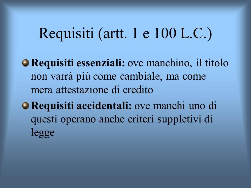 Requisiti (artt. 1 e 100 L.C.) Requisiti essenziali: ove manchino, il titolo non varrà più come cambiale, ma come mera attestazione di credito Requisi