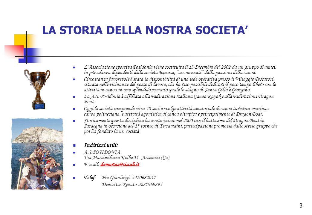 3 LA STORIA DELLA NOSTRA SOCIETA LAssociazione sportiva Posidonia viene costituita il 13 Dicembre del 2002 da un gruppo di amici, in prevalenza dipend