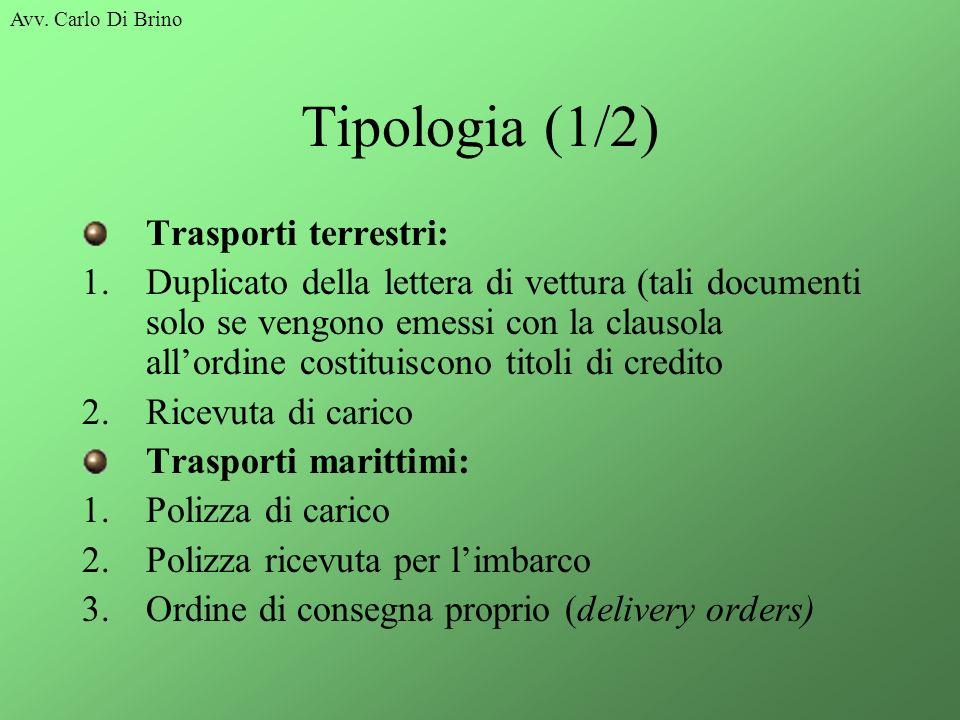 Avv. Carlo Di Brino Tipologia (1/2) Trasporti terrestri: 1.Duplicato della lettera di vettura (tali documenti solo se vengono emessi con la clausola a