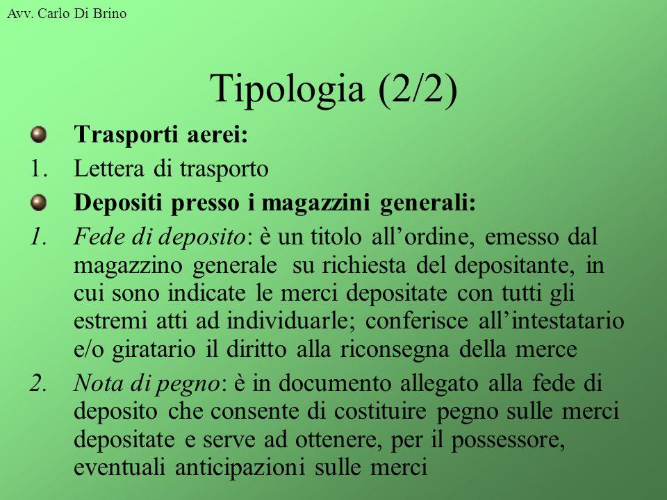 Avv. Carlo Di Brino Tipologia (2/2) Trasporti aerei: 1.Lettera di trasporto Depositi presso i magazzini generali: 1.Fede di deposito: è un titolo allo