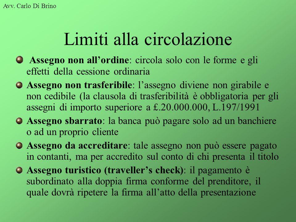 Avv. Carlo Di Brino Limiti alla circolazione Assegno non allordine: circola solo con le forme e gli effetti della cessione ordinaria Assegno non trasf