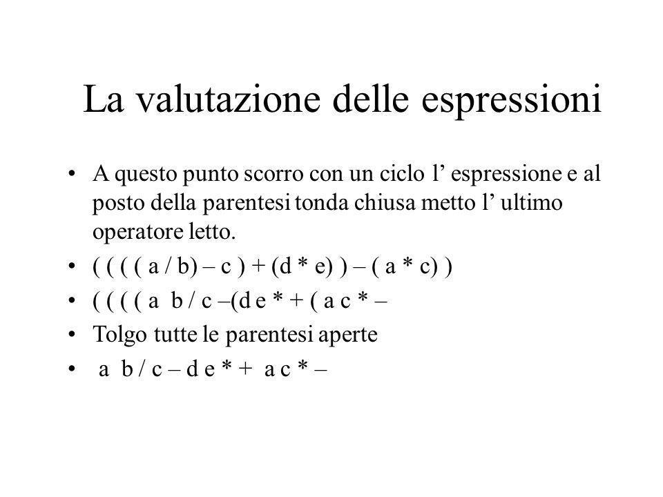 La valutazione delle espressioni Come si può realizzare tutto ciò in c++ o c.