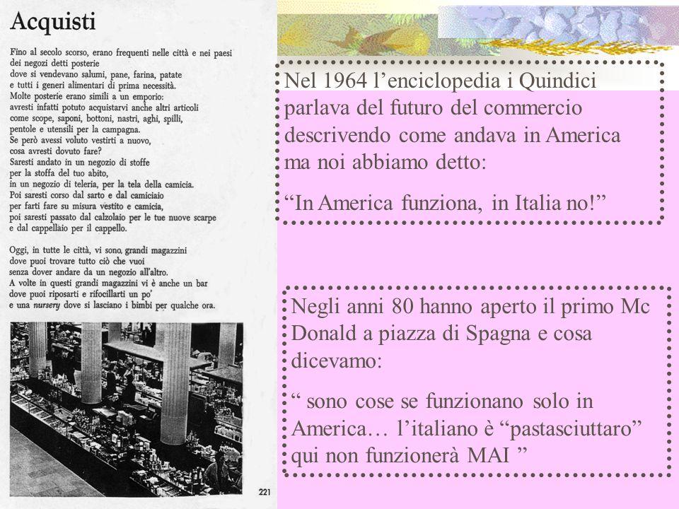 Nel 1964 lenciclopedia i Quindici parlava del futuro del commercio descrivendo come andava in America ma noi abbiamo detto: In America funziona, in Italia no.