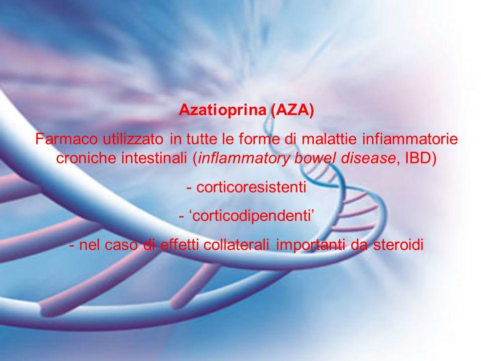 Azatioprina (AZA) Farmaco utilizzato in tutte le forme di malattie infiammatorie croniche intestinali (inflammatory bowel disease, IBD) - corticoresis