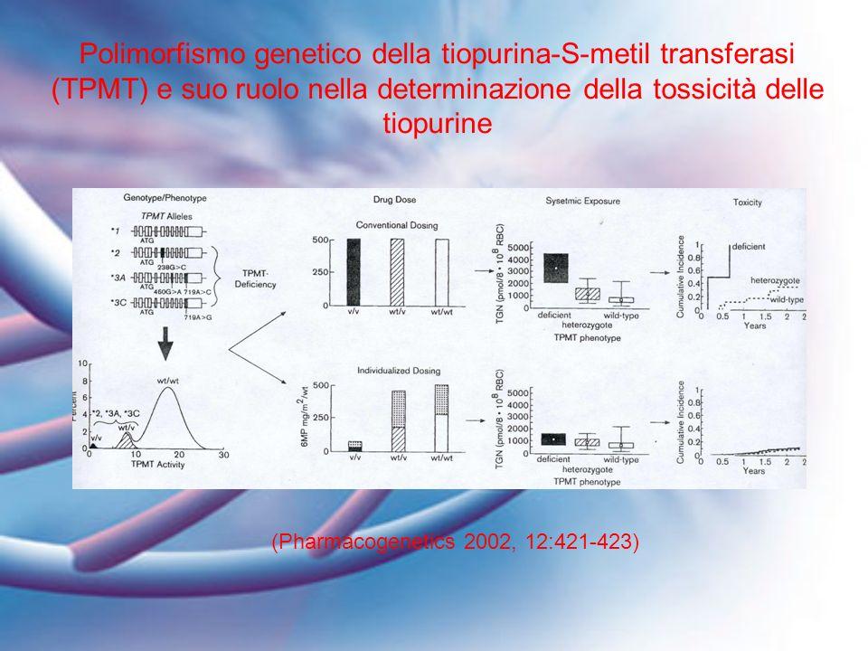 (Pharmacogenetics 2002, 12:421-423) Polimorfismo genetico della tiopurina-S-metil transferasi (TPMT) e suo ruolo nella determinazione della tossicità