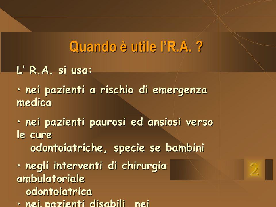 Quando è utile lR.A. ? L R.A. si usa: nei pazienti a rischio di emergenza medica nei pazienti a rischio di emergenza medica nei pazienti paurosi ed an