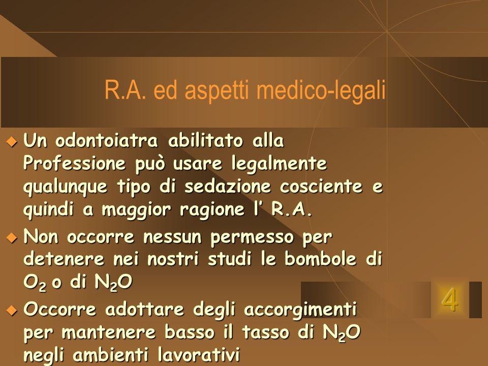 R.A. ed aspetti medico-legali Un odontoiatra abilitato alla Professione può usare legalmente qualunque tipo di sedazione cosciente e quindi a maggior