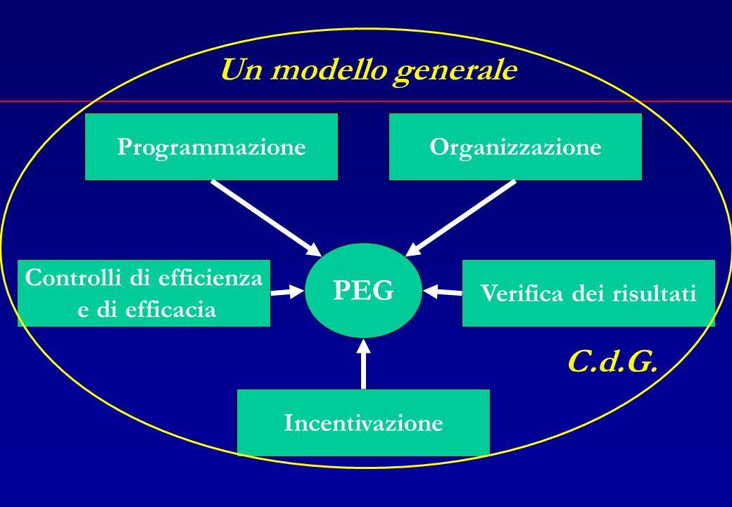 Un modello generale La convergenza dei sottosistemi Il controllo di gestione come metodologia generale di gestione dellente locale