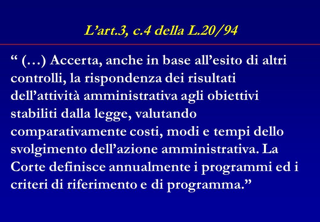 Lart.3, c.4 della L.20/94 (…) nonché il funzionamento dei controlli interni a ciascuna amministrazione. (…)