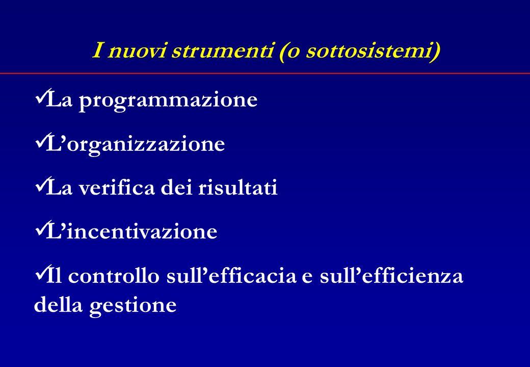Lart.3 della L.20/94 Controlli tradizionaliControllo sui risultati Dallamministrazione per atti allamministrazione per risultati