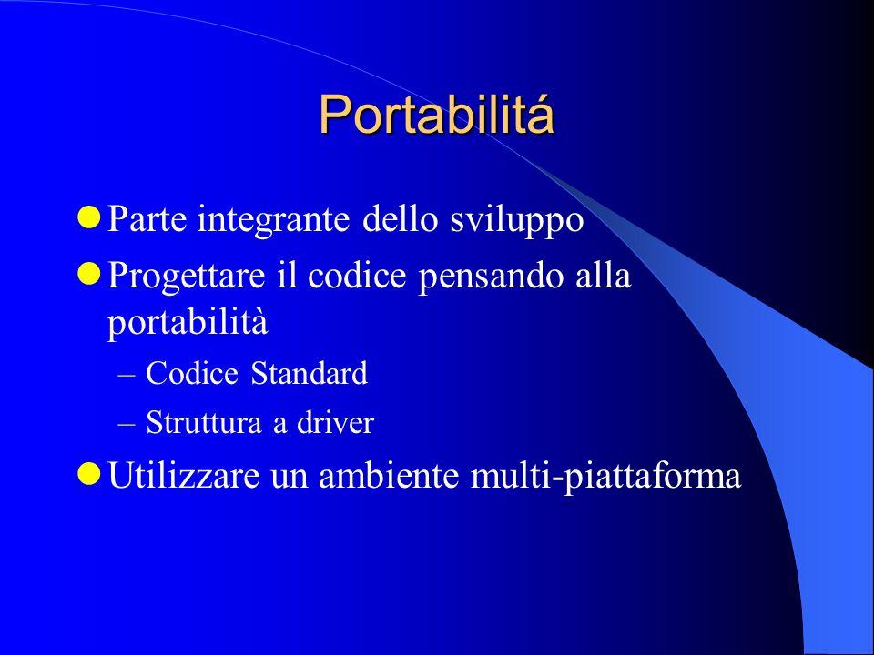 Portabilitá Parte integrante dello sviluppo Progettare il codice pensando alla portabilità –Codice Standard –Struttura a driver Utilizzare un ambiente