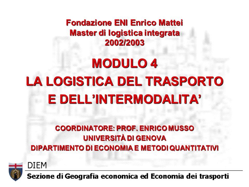 Fondazione ENI Enrico Mattei Master di logistica integrata 2002/2003 MODULO 4 LA LOGISTICA DEL TRASPORTO E DELLINTERMODALITA COORDINATORE: PROF.