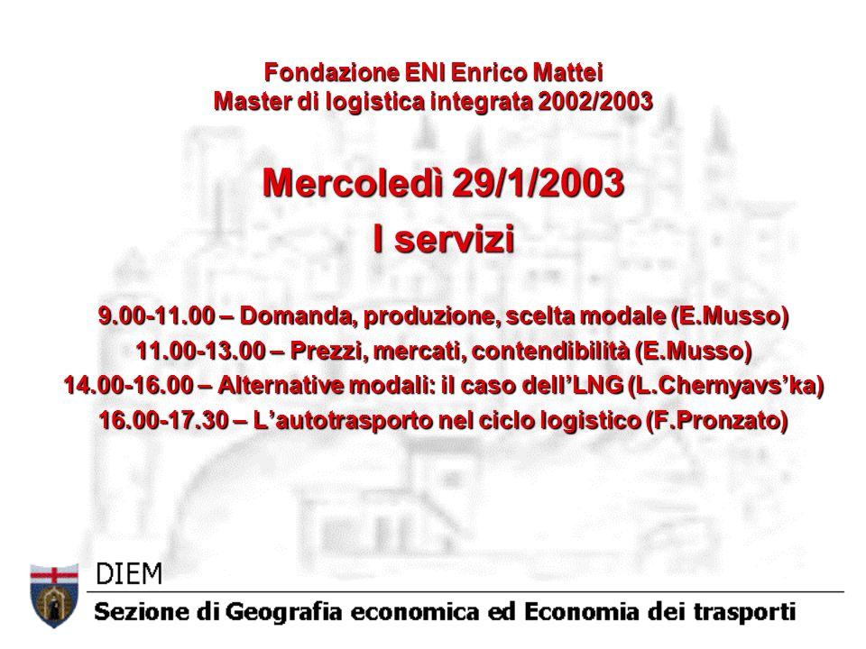 Fondazione ENI Enrico Mattei Master di logistica integrata 2002/2003 Mercoledì 29/1/2003 I servizi 9.00-11.00 – Domanda, produzione, scelta modale (E.Musso) 11.00-13.00 – Prezzi, mercati, contendibilità (E.Musso) 14.00-16.00 – Alternative modali: il caso dellLNG (L.Chernyavska) 16.00-17.30 – Lautotrasporto nel ciclo logistico (F.Pronzato)