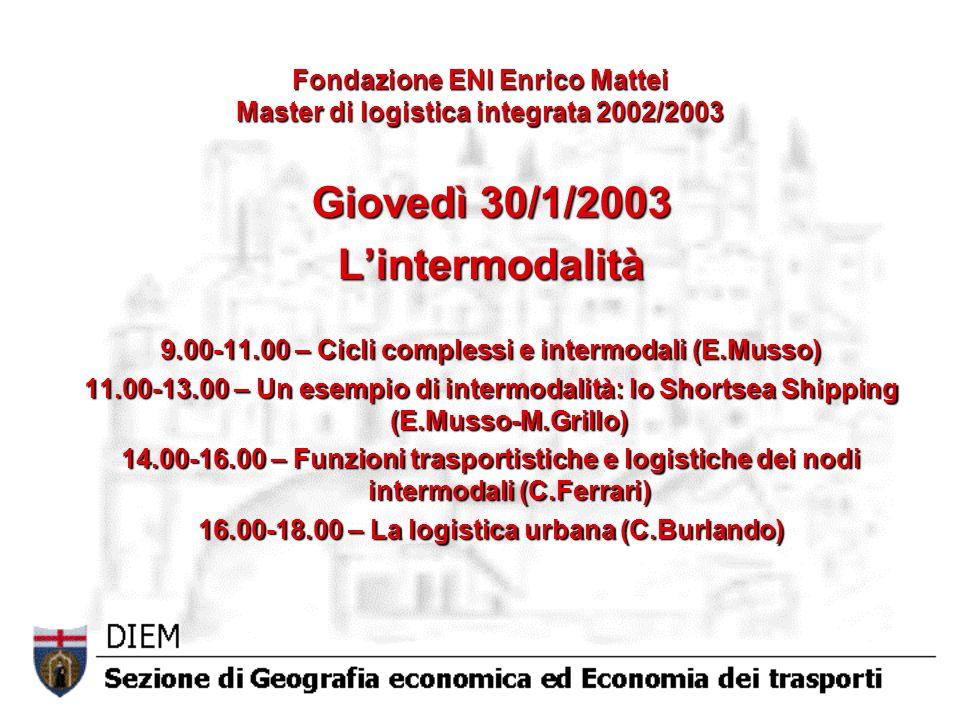 Fondazione ENI Enrico Mattei Master di logistica integrata 2002/2003 Giovedì 30/1/2003 Lintermodalità 9.00-11.00 – Cicli complessi e intermodali (E.Musso) 11.00-13.00 – Un esempio di intermodalità: lo Shortsea Shipping (E.Musso-M.Grillo) 14.00-16.00 – Funzioni trasportistiche e logistiche dei nodi intermodali (C.Ferrari) 16.00-18.00 – La logistica urbana (C.Burlando)