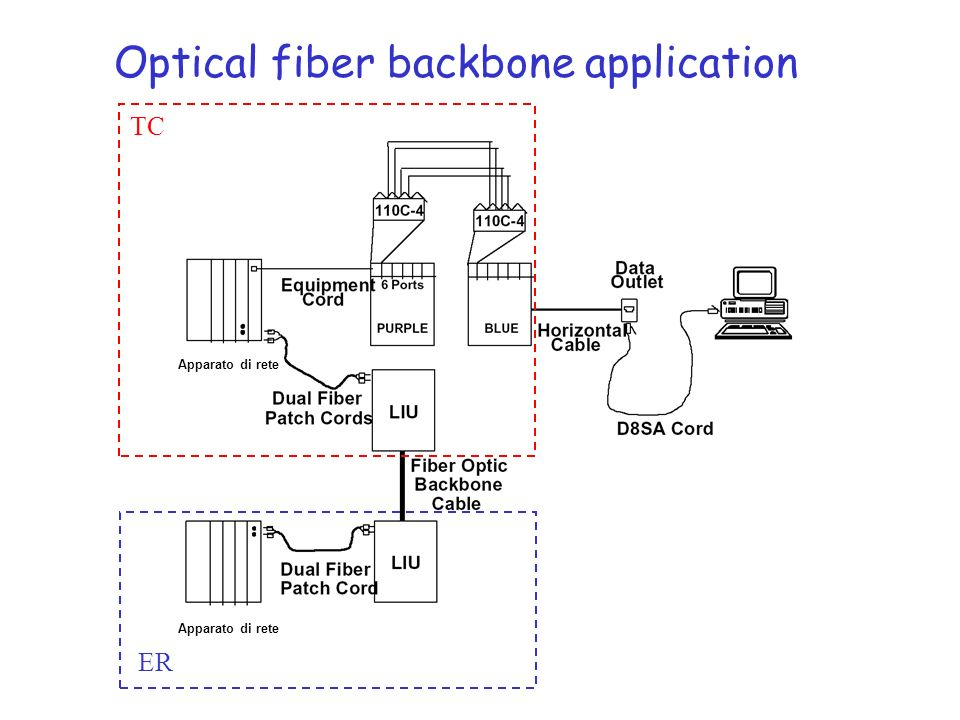 Optical fiber backbone application Apparato di rete TC ER