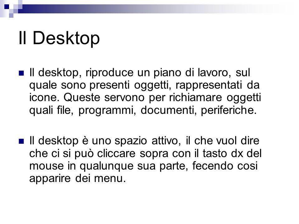 Il Desktop Il desktop, riproduce un piano di lavoro, sul quale sono presenti oggetti, rappresentati da icone. Queste servono per richiamare oggetti qu