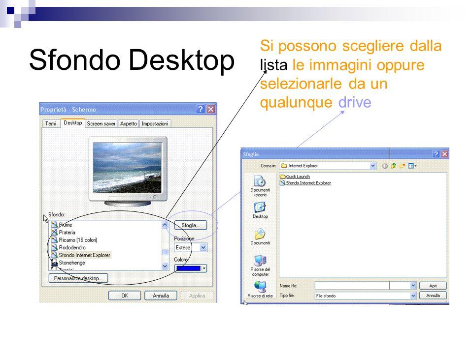 Sfondo Desktop Si possono scegliere dalla lista le immagini oppure selezionarle da un qualunque drive