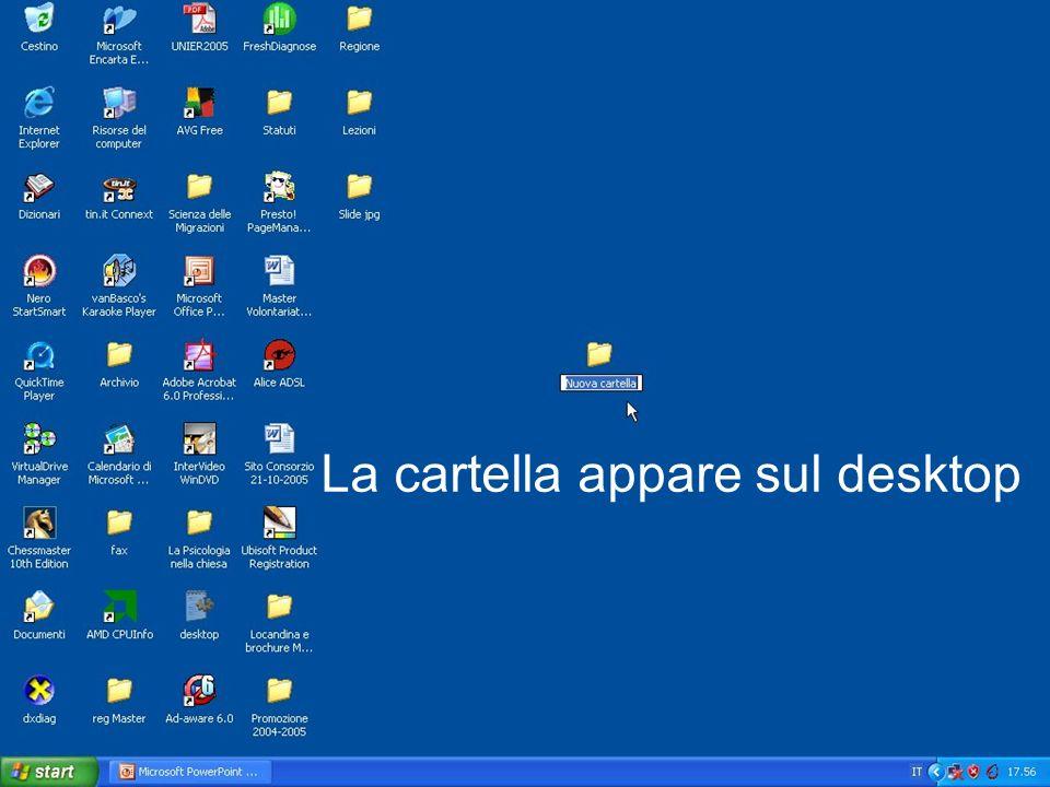 La cartella appare sul desktop