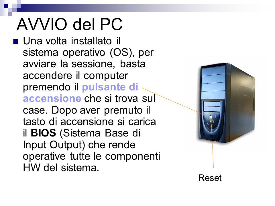 AVVIO del PC Una volta installato il sistema operativo (OS), per avviare la sessione, basta accendere il computer premendo il pulsante di accensione c